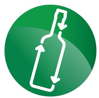 Glass bottles recycling logo