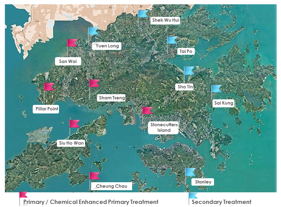 Illustrative Map of Major Sewage Treatment Facilities in Hong Kong