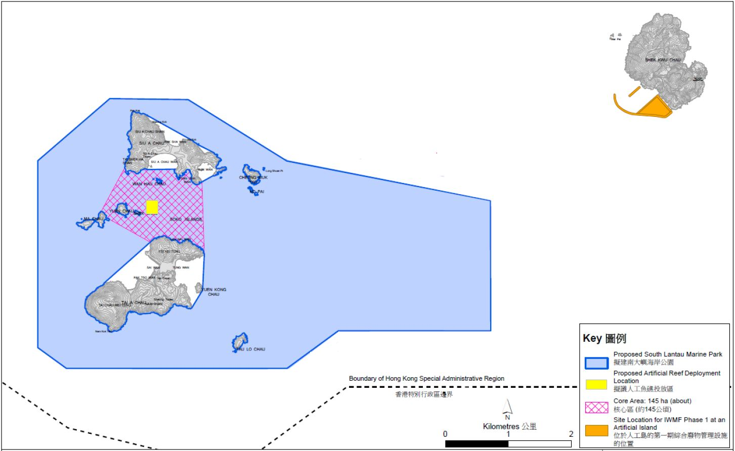 The proposed location for artificial reefs development