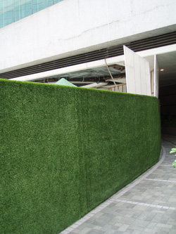 Hoarding lined with artificial turf