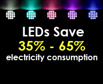 LEDs Save 35% - 65% electricity consumption